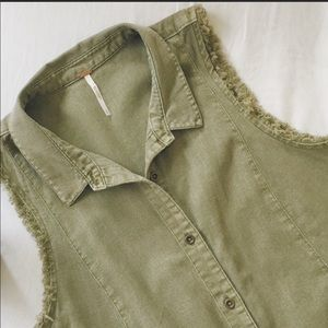 Free People Olive Green Button Down Vest Large
